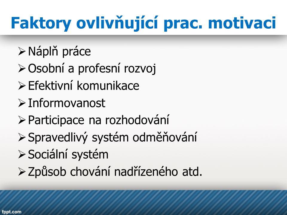 Faktory ovlivňující prac. motivaci  Náplň práce  Osobní a profesní rozvoj  Efektivní komunikace  Informovanost  Participace na rozhodování  Spra