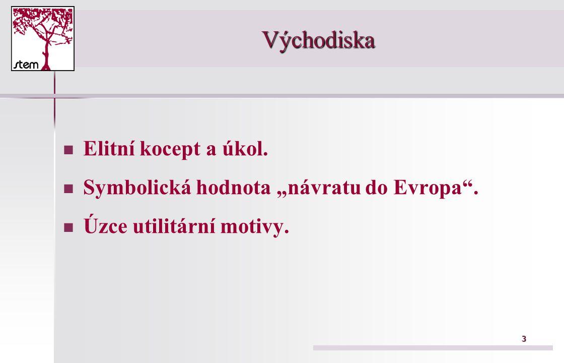 """3 Východiska Elitní kocept a úkol. Symbolická hodnota """"návratu do Evropa . Úzce utilitární motivy."""