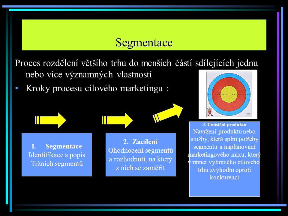 Proces rozdělení většího trhu do menších částí sdílejících jednu nebo více významných vlastností Kroky procesu cílového marketingu : Segmentace 1.Segm