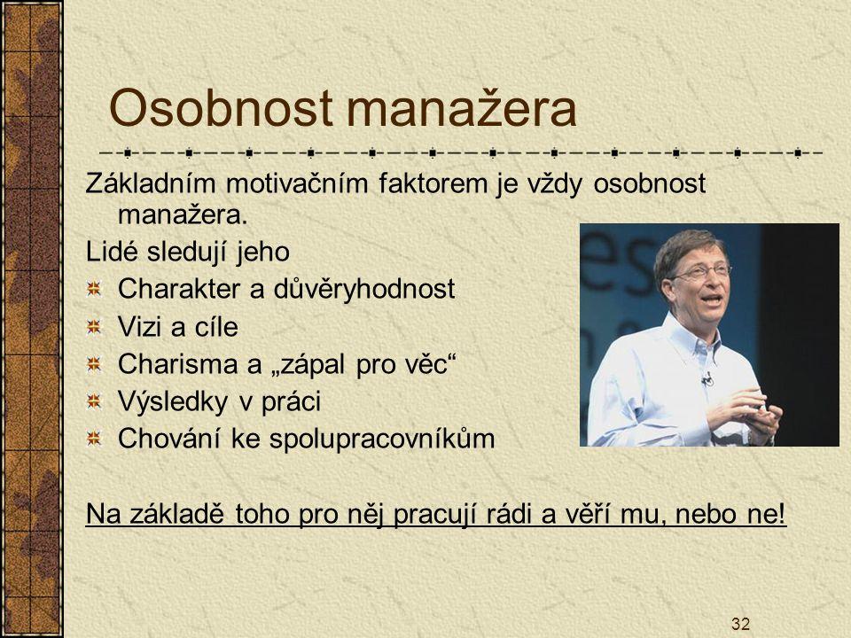 """32 Osobnost manažera Základním motivačním faktorem je vždy osobnost manažera. Lidé sledují jeho Charakter a důvěryhodnost Vizi a cíle Charisma a """"zápa"""