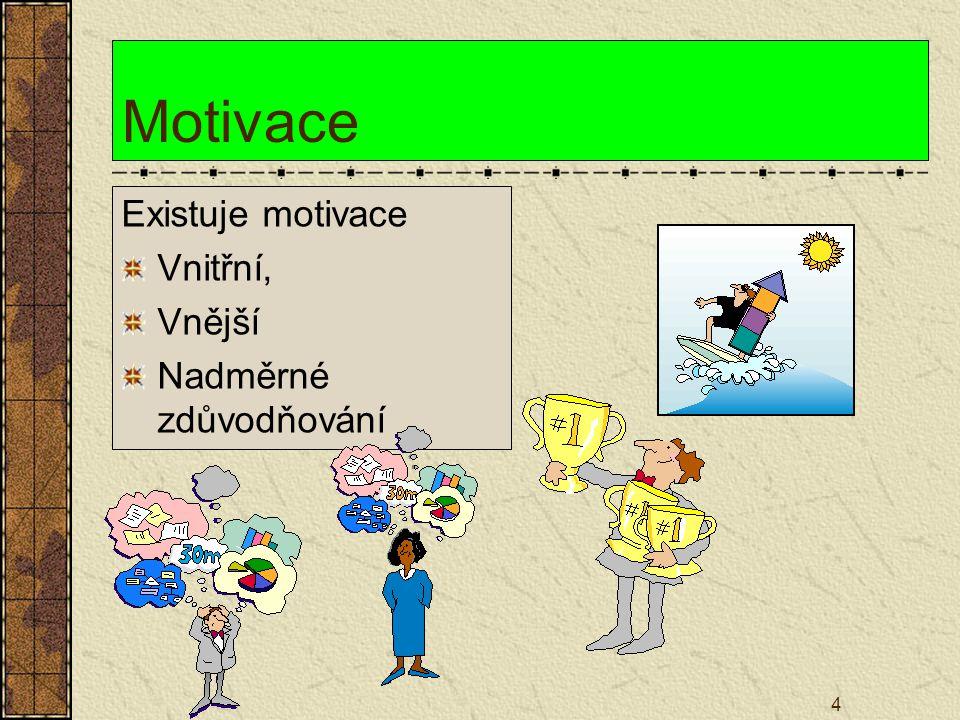 4 Motivace Existuje motivace Vnitřní, Vnější Nadměrné zdůvodňování