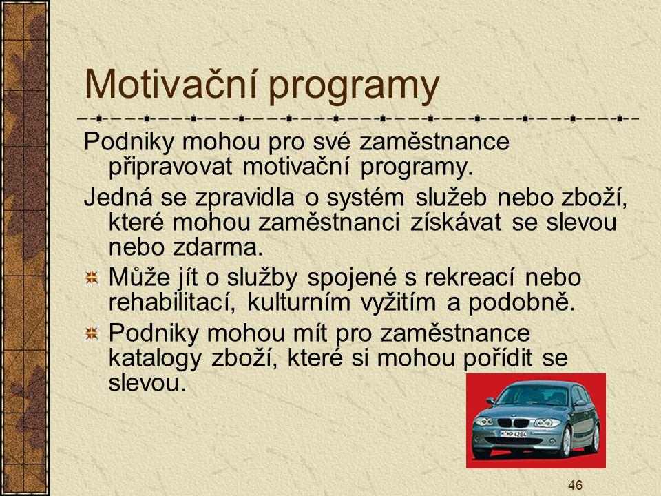 46 Motivační programy Podniky mohou pro své zaměstnance připravovat motivační programy. Jedná se zpravidla o systém služeb nebo zboží, které mohou zam