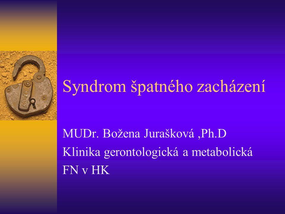 Syndrom špatného zacházení MUDr. Božena Jurašková,Ph.D Klinika gerontologická a metabolická FN v HK