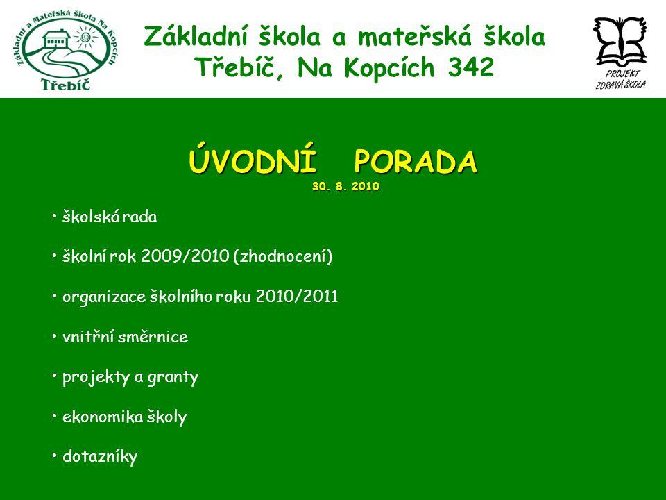 Základní škola a mateřská škola Třebíč, Na Kopcích 342 ÚVODNÍ PORADA 30. 8. 2010 školská rada školní rok 2009/2010 (zhodnocení) organizace školního ro