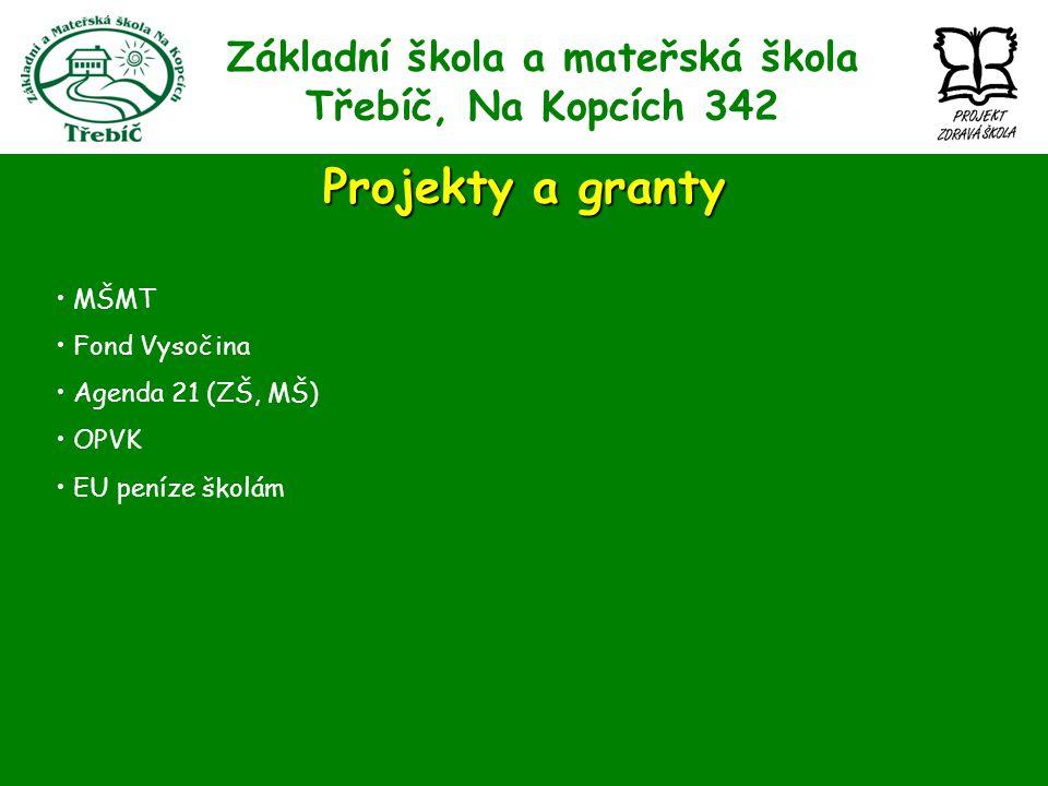 Základní škola a mateřská škola Třebíč, Na Kopcích 342 Projekty a granty MŠMT Fond Vysočina Agenda 21 (ZŠ, MŠ) OPVK EU peníze školám