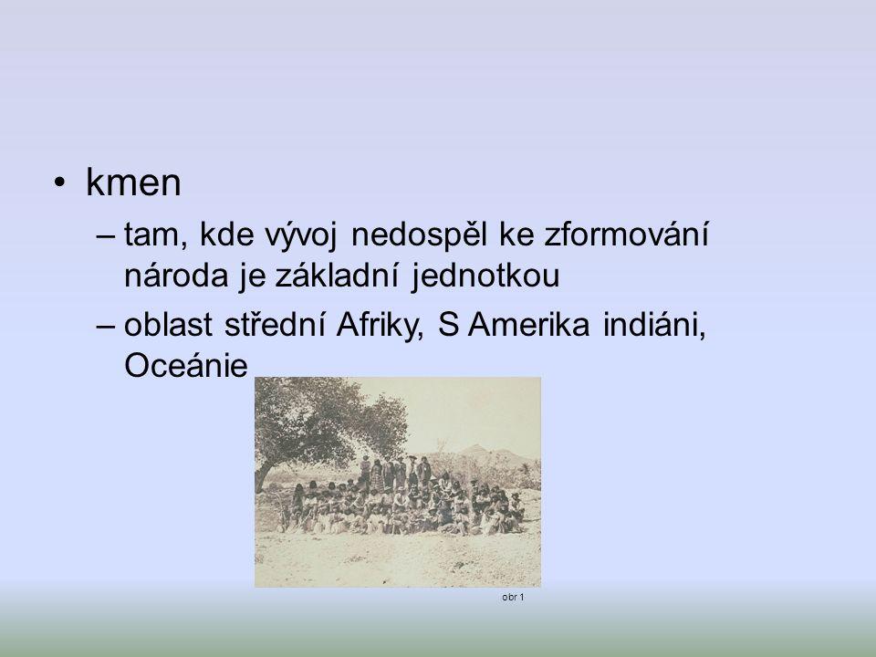 kmen –tam, kde vývoj nedospěl ke zformování národa je základní jednotkou –oblast střední Afriky, S Amerika indiáni, Oceánie obr 1