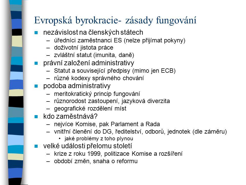 Evropská byrokracie- zásady fungování nezávislost na členských státech –úředníci zaměstnanci ES (nelze přijímat pokyny) –doživotní jistota práce –zvláštní statut (imunita, daně) právní založení administrativy –Statut a související předpisy (mimo jen ECB) –různé kodexy správného chování podoba administrativy –meritokratický princip fungování –různorodost zastoupení, jazyková diverzita –geografické rozdělení míst kdo zaměstnává.