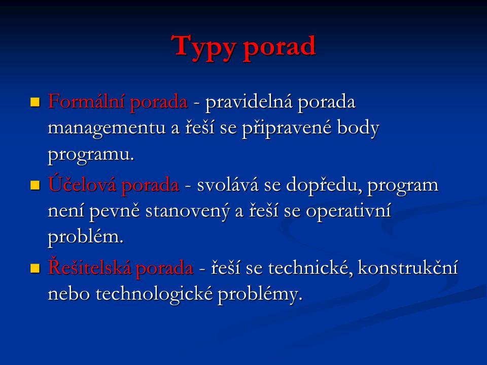 Typy porad Formální porada - pravidelná porada managementu a řeší se připravené body programu.
