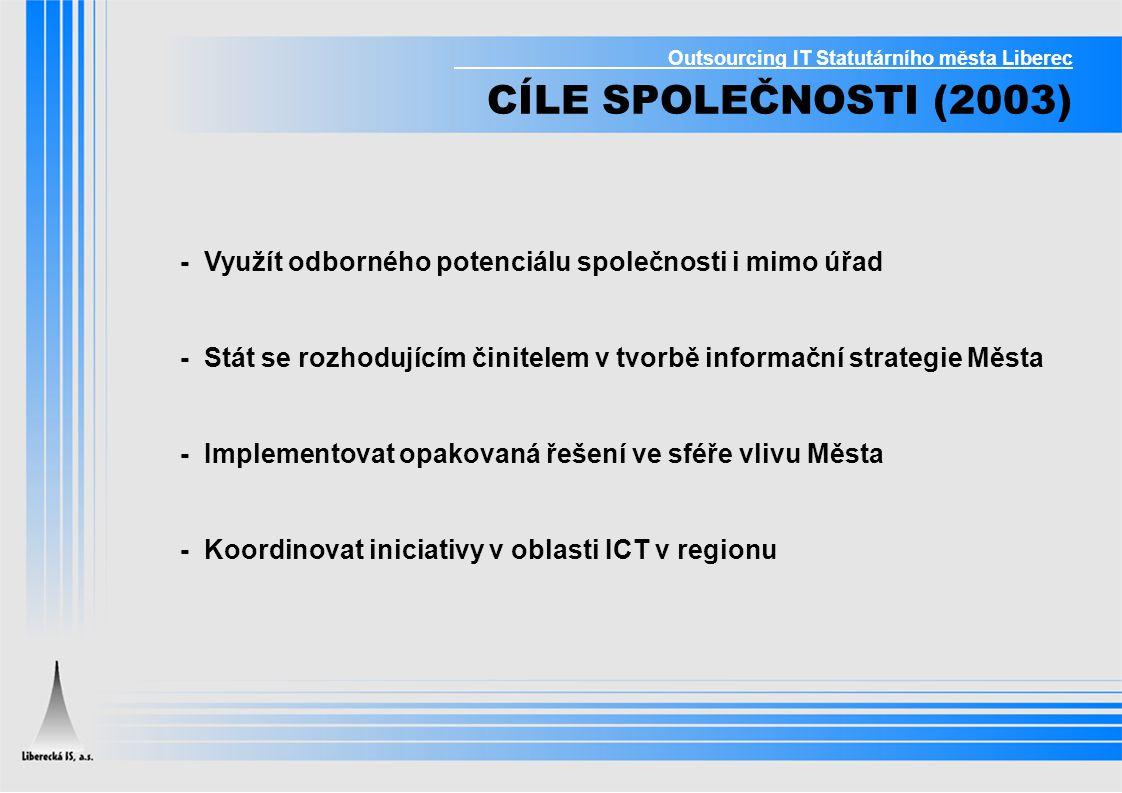 Outsourcing IT Statutárního města Liberec CÍLE SPOLEČNOSTI (2003) - Využít odborného potenciálu společnosti i mimo úřad - Stát se rozhodujícím činitel