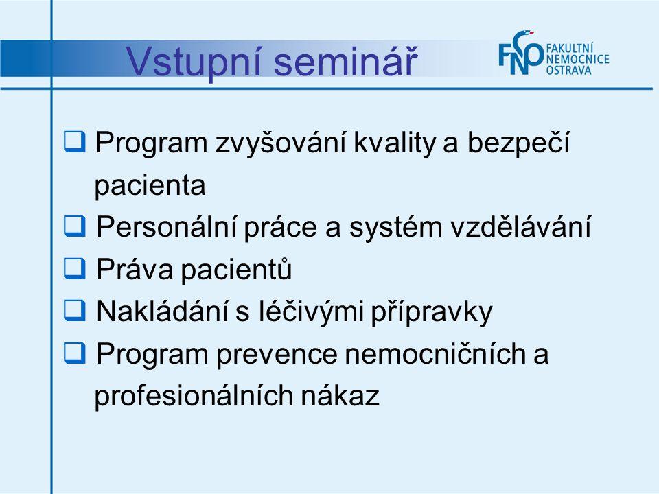 Vstupní seminář  Program zvyšování kvality a bezpečí pacienta  Personální práce a systém vzdělávání  Práva pacientů  Nakládání s léčivými přípravk