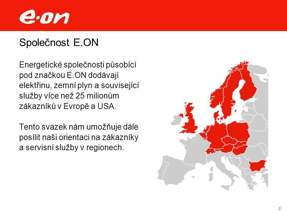 2 Společnost E.ON Energetické společnosti působící pod značkou E.ON dodávají elektřinu, zemní plyn a související služby více než 25 milionům zákazníků v Evropě a USA.