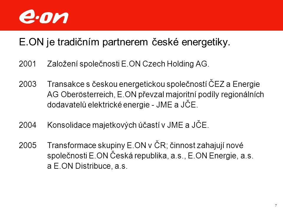 7 E.ON je tradičním partnerem české energetiky. 2001Založení společnosti E.ON Czech Holding AG. 2003Transakce s českou energetickou společností ČEZ a