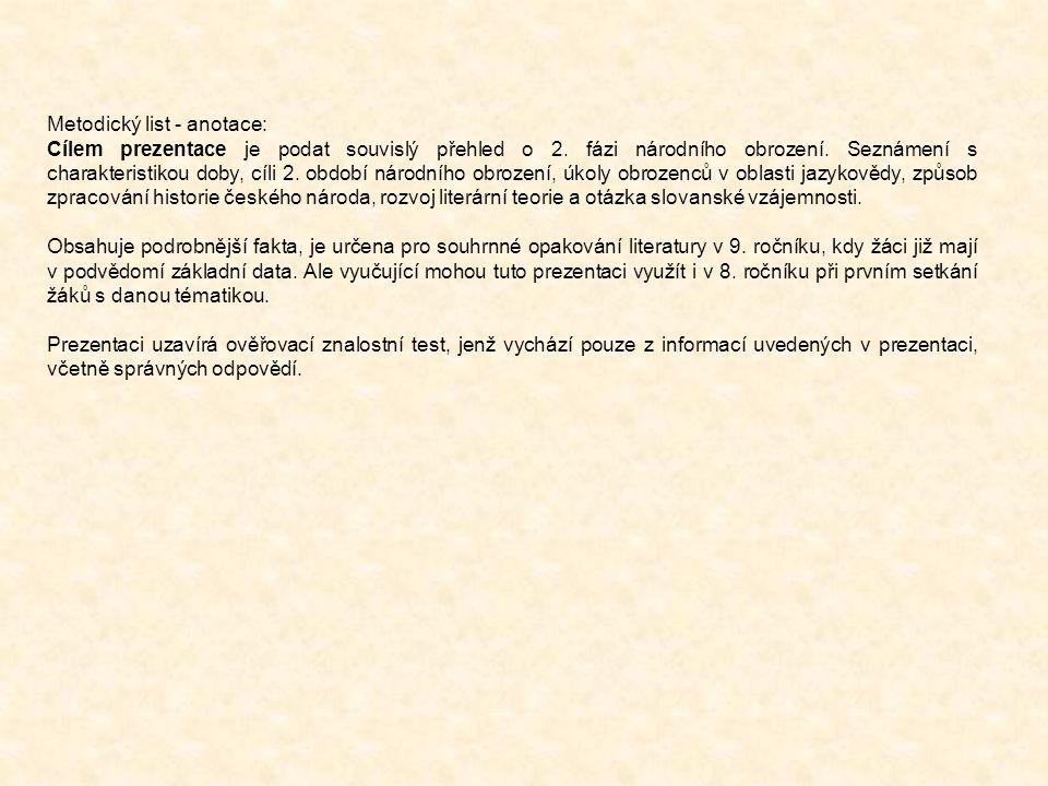 Metodický list - anotace: Cílem prezentace je podat souvislý přehled o 2.
