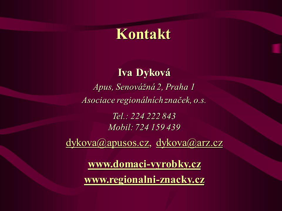 Iva Dyková Apus, Senovážná 2, Praha 1 Asociace regionálních značek, o.s.
