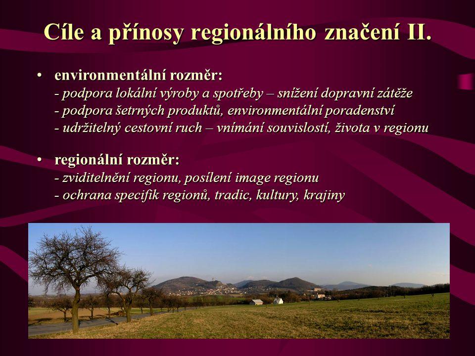 environmentální rozměr: - podpora lokální výroby a spotřeby – snížení dopravní zátěže - podpora šetrných produktů, environmentální poradenství - udržitelný cestovní ruch – vnímání souvislostí, života v regionuenvironmentální rozměr: - podpora lokální výroby a spotřeby – snížení dopravní zátěže - podpora šetrných produktů, environmentální poradenství - udržitelný cestovní ruch – vnímání souvislostí, života v regionu regionální rozměr: - zviditelnění regionu, posílení image regionu - ochrana specifik regionů, tradic, kultury, krajinyregionální rozměr: - zviditelnění regionu, posílení image regionu - ochrana specifik regionů, tradic, kultury, krajiny Cíle a přínosy regionálního značení II.