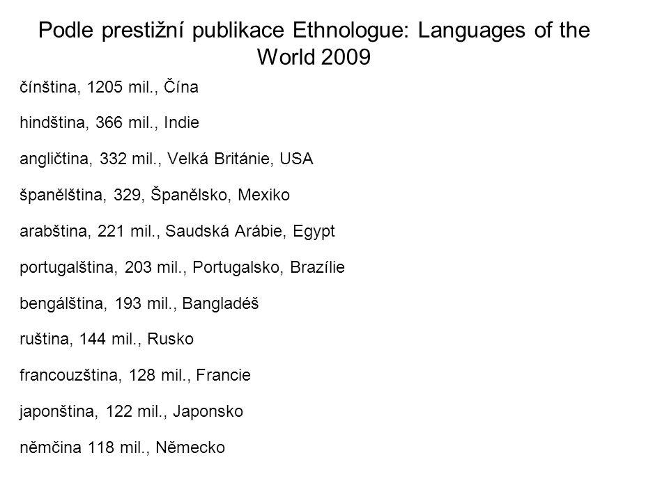 Podle prestižní publikace Ethnologue: Languages of the World 2009 čínština, 1205 mil., Čína hindština, 366 mil., Indie angličtina, 332 mil., Velká Bri