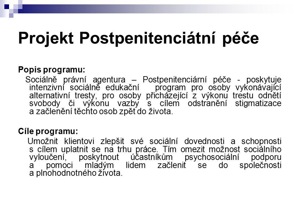 Projekt Postpenitenciátní péče Popis programu: Sociálně právní agentura – Postpenitenciární péče - poskytuje intenzivní sociálně edukační program pro