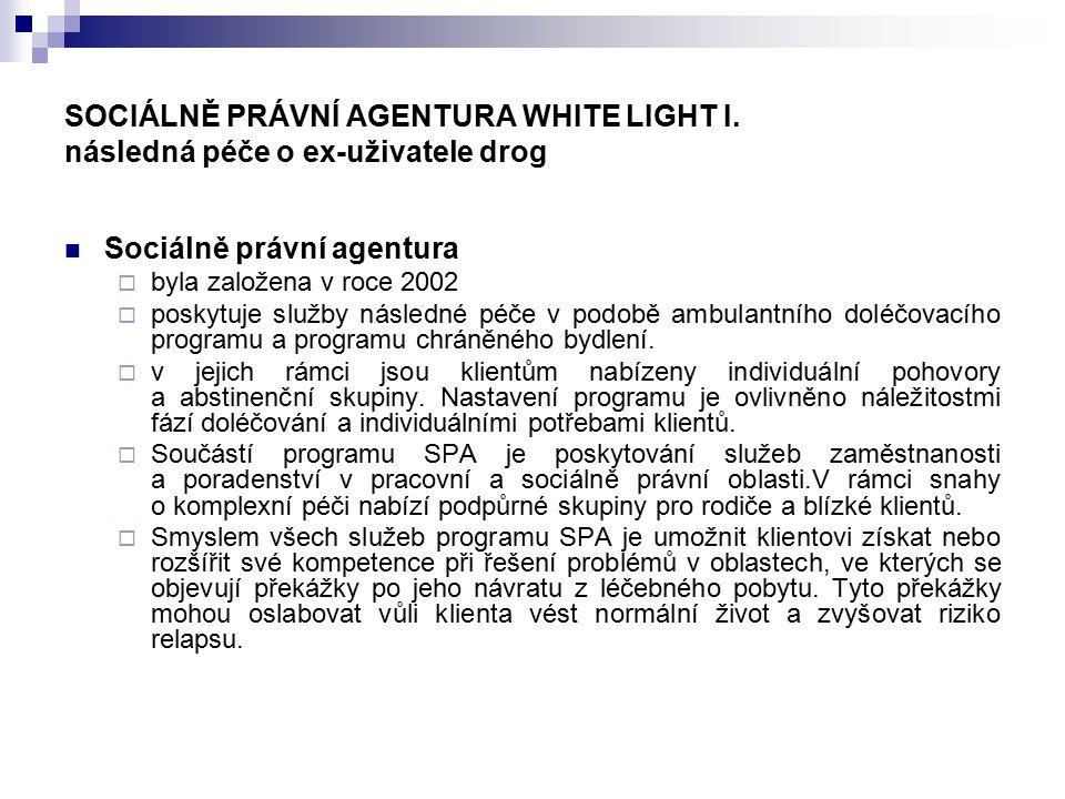 SOCIÁLNĚ PRÁVNÍ AGENTURA WHITE LIGHT I. následná péče o ex-uživatele drog Sociálně právní agentura  byla založena v roce 2002  poskytuje služby násl