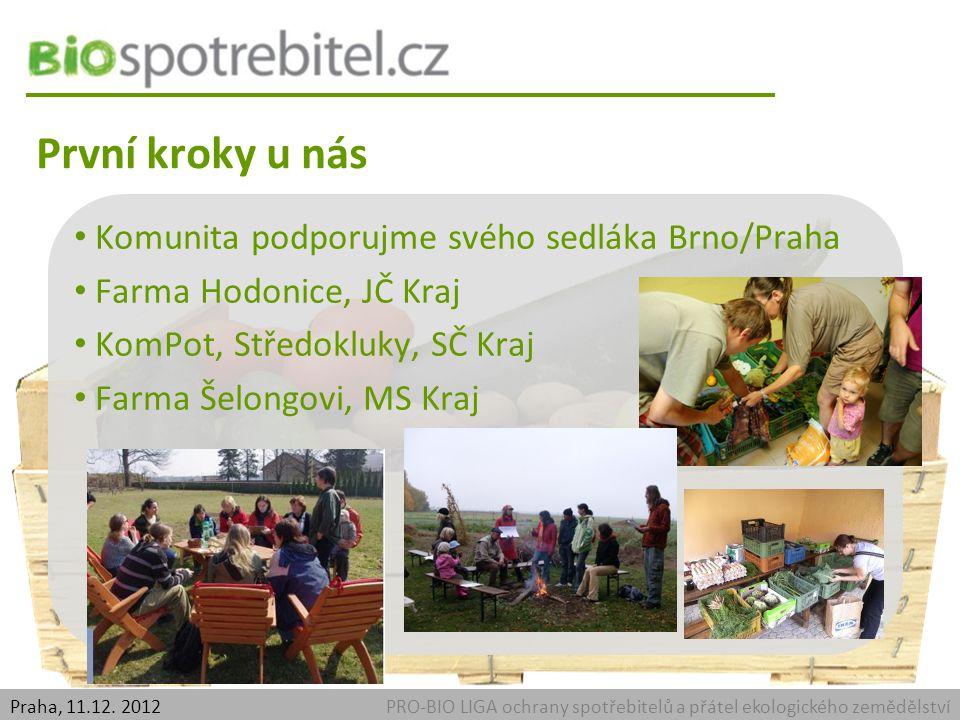 První kroky u nás PRO-BIO LIGA ochrany spotřebitelů a přátel ekologického zemědělstvíPraha, 11.12.