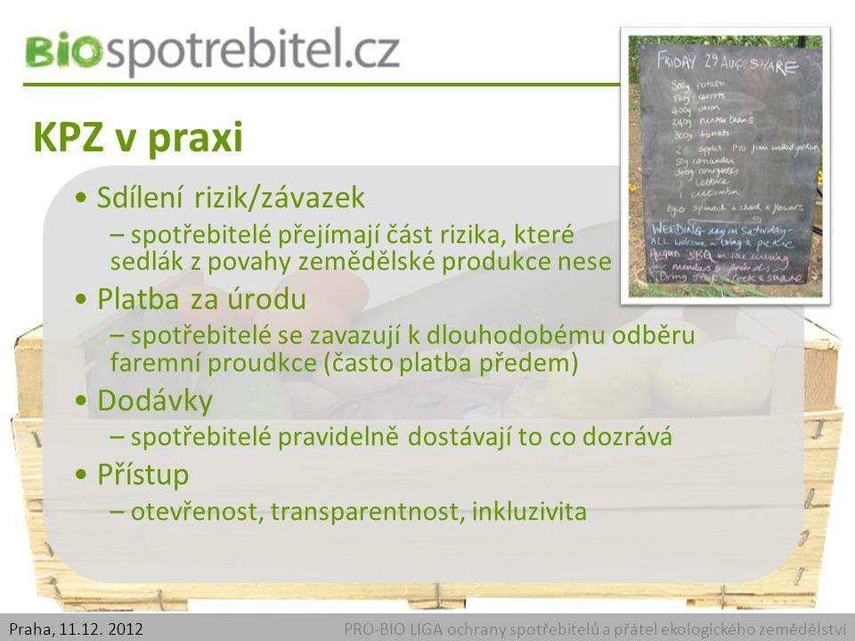 Přínosy pro zemědělce PRO-BIO LIGA ochrany spotřebitelů a přátel ekologického zemědělstvíPraha, 11.12.