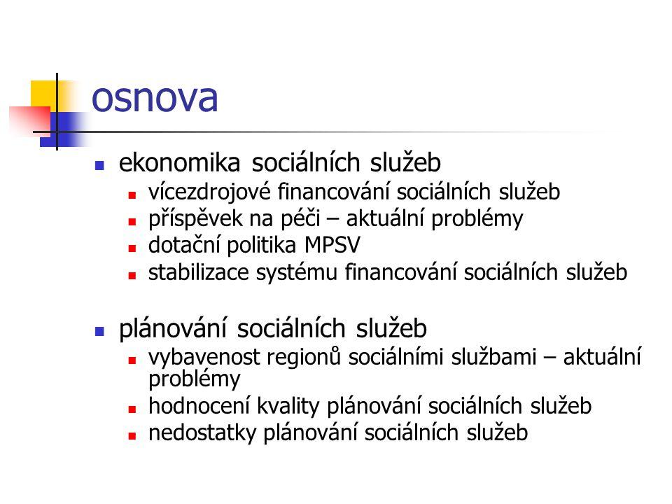 osnova ekonomika sociálních služeb vícezdrojové financování sociálních služeb příspěvek na péči – aktuální problémy dotační politika MPSV stabilizace