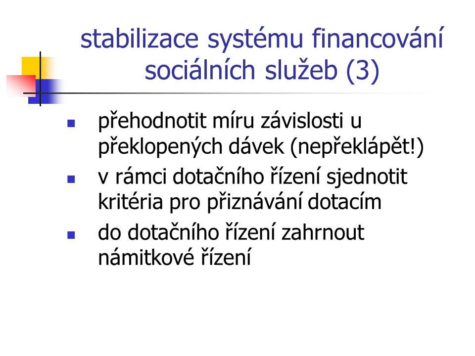 stabilizace systému financování sociálních služeb (3) přehodnotit míru závislosti u překlopených dávek (nepřeklápět!) v rámci dotačního řízení sjednot