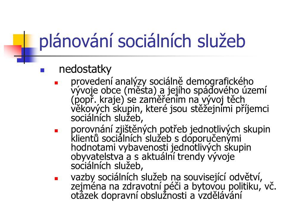 plánování sociálních služeb nedostatky provedení analýzy sociálně demografického vývoje obce (města) a jejího spádového území (popř. kraje) se zaměřen