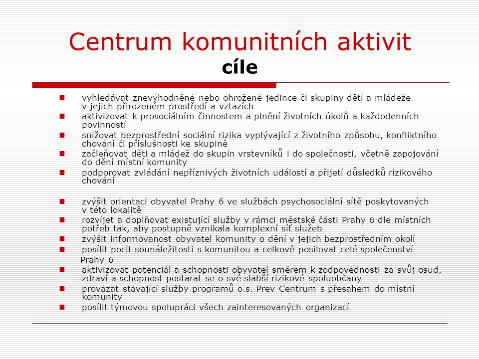 Centrum komunitních aktivit cílová skupina Primární (konečná) cílová skupina je ta, jejímuž rizikovému chování chceme předejít.