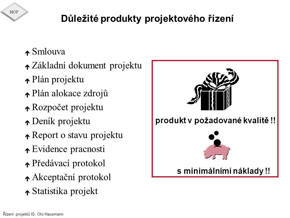 Řízení projektů IS, Oto Hausmann HOP Důležité produkty projektového řízení é Smlouva é Základní dokument projektu é Plán projektu é Plán alokace zdroj