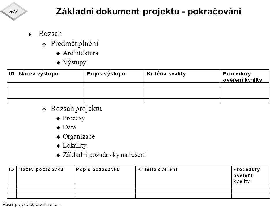 Řízení projektů IS, Oto Hausmann HOP Základní dokument projektu - pokračování l Rozsah é Předmět plnění u Architektura u Výstupy é Rozsah projektu u P