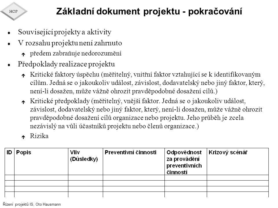 Řízení projektů IS, Oto Hausmann HOP Základní dokument projektu - pokračování l Související projekty a aktivity l V rozsahu projektu není zahrnuto é p