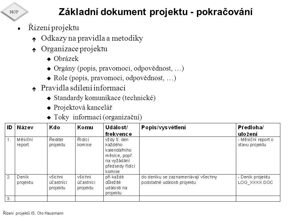 Řízení projektů IS, Oto Hausmann HOP Základní dokument projektu - pokračování l Řízení projektu é Odkazy na pravidla a metodiky é Organizace projektu
