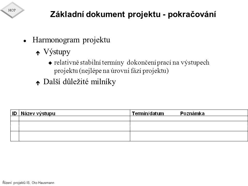 Řízení projektů IS, Oto Hausmann HOP Základní dokument projektu - pokračování l Harmonogram projektu é Výstupy u relativně stabilní termíny dokončení