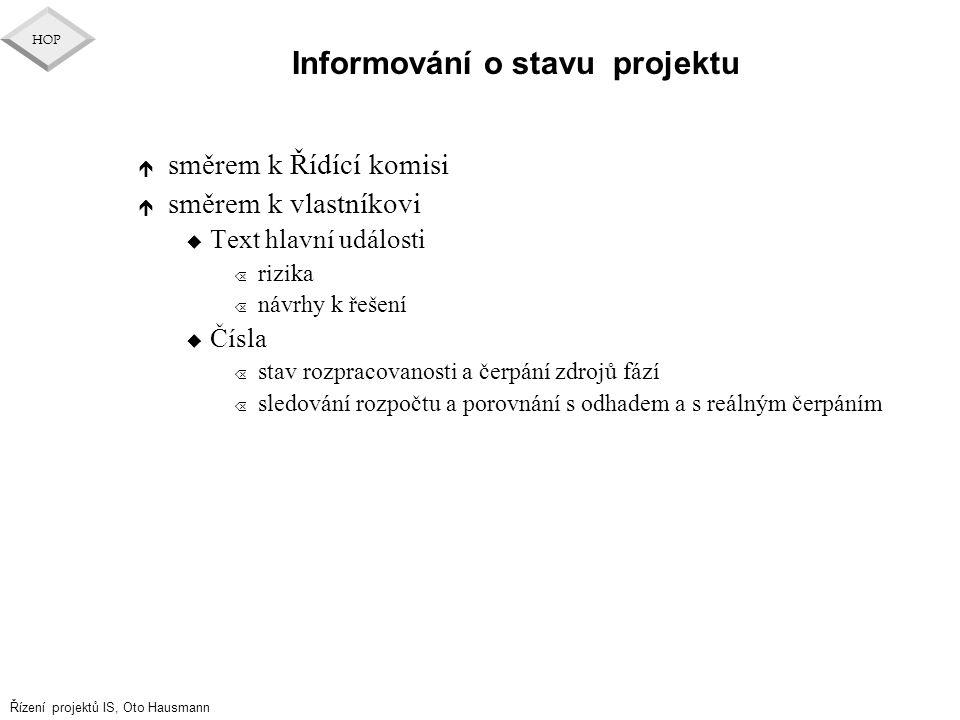 Řízení projektů IS, Oto Hausmann HOP Informování o stavu projektu é směrem k Řídící komisi é směrem k vlastníkovi u Text hlavní události Õ rizika Õ ná