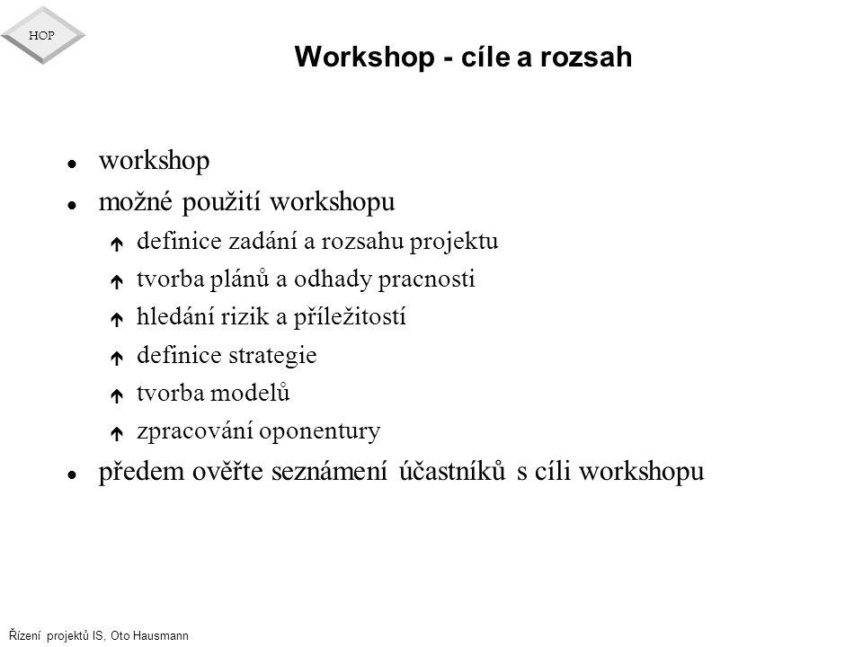 Řízení projektů IS, Oto Hausmann HOP Workshop - cíle a rozsah l workshop l možné použití workshopu é definice zadání a rozsahu projektu é tvorba plánů