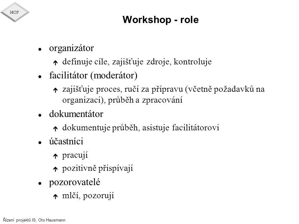 Řízení projektů IS, Oto Hausmann HOP Workshop - role l organizátor é definuje cíle, zajišťuje zdroje, kontroluje l facilitátor (moderátor) é zajišťuje