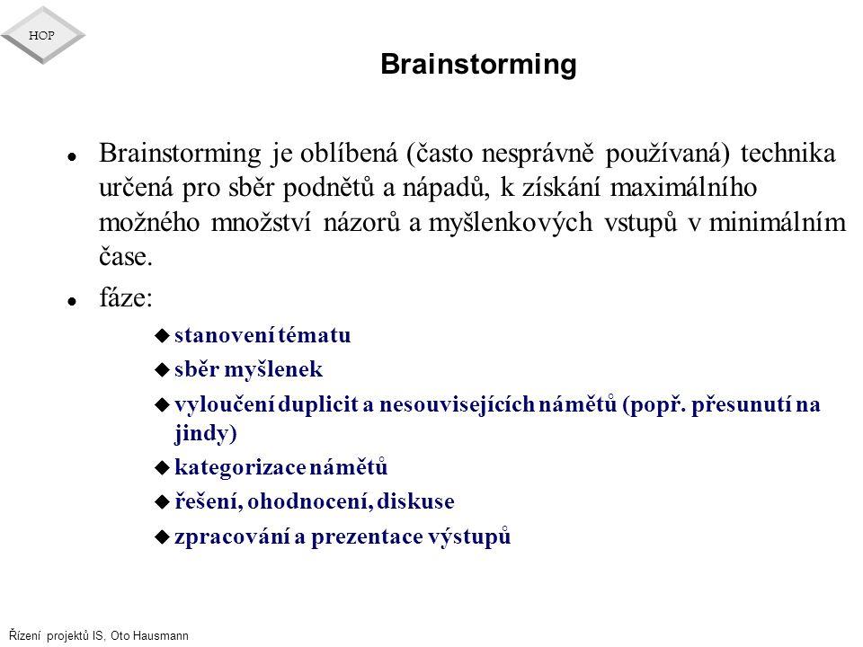 Řízení projektů IS, Oto Hausmann HOP Brainstorming l Brainstorming je oblíbená (často nesprávně používaná) technika určená pro sběr podnětů a nápadů,