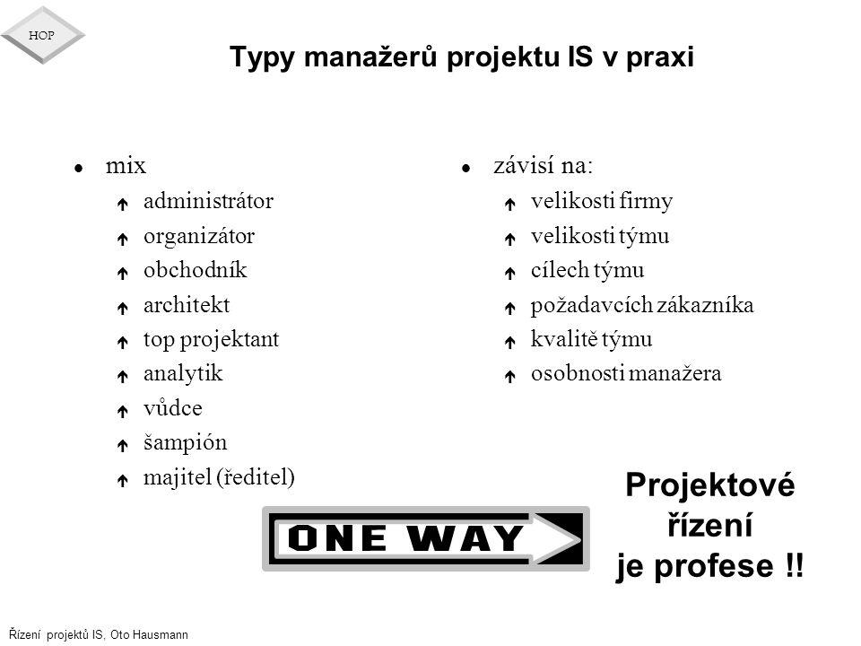 Řízení projektů IS, Oto Hausmann HOP Typy manažerů projektu IS v praxi l mix é administrátor é organizátor é obchodník é architekt é top projektant é
