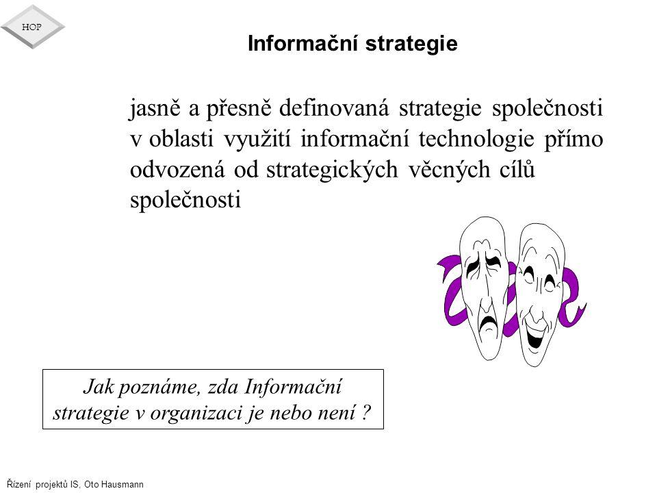 Řízení projektů IS, Oto Hausmann HOP Informační strategie jasně a přesně definovaná strategie společnosti v oblasti využití informační technologie pří