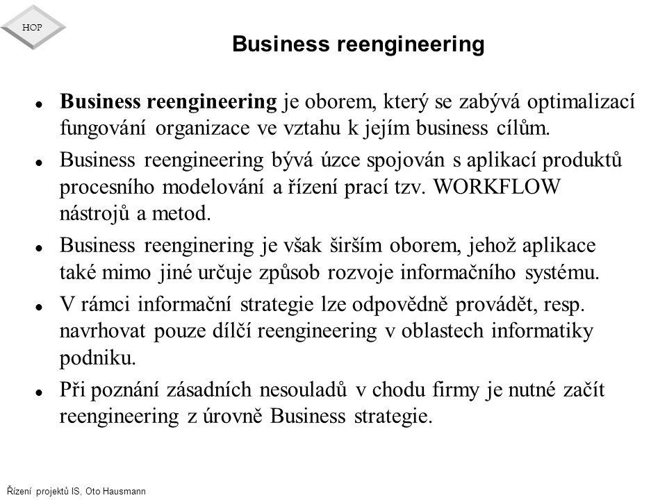Řízení projektů IS, Oto Hausmann HOP Business reengineering l Business reengineering je oborem, který se zabývá optimalizací fungování organizace ve v