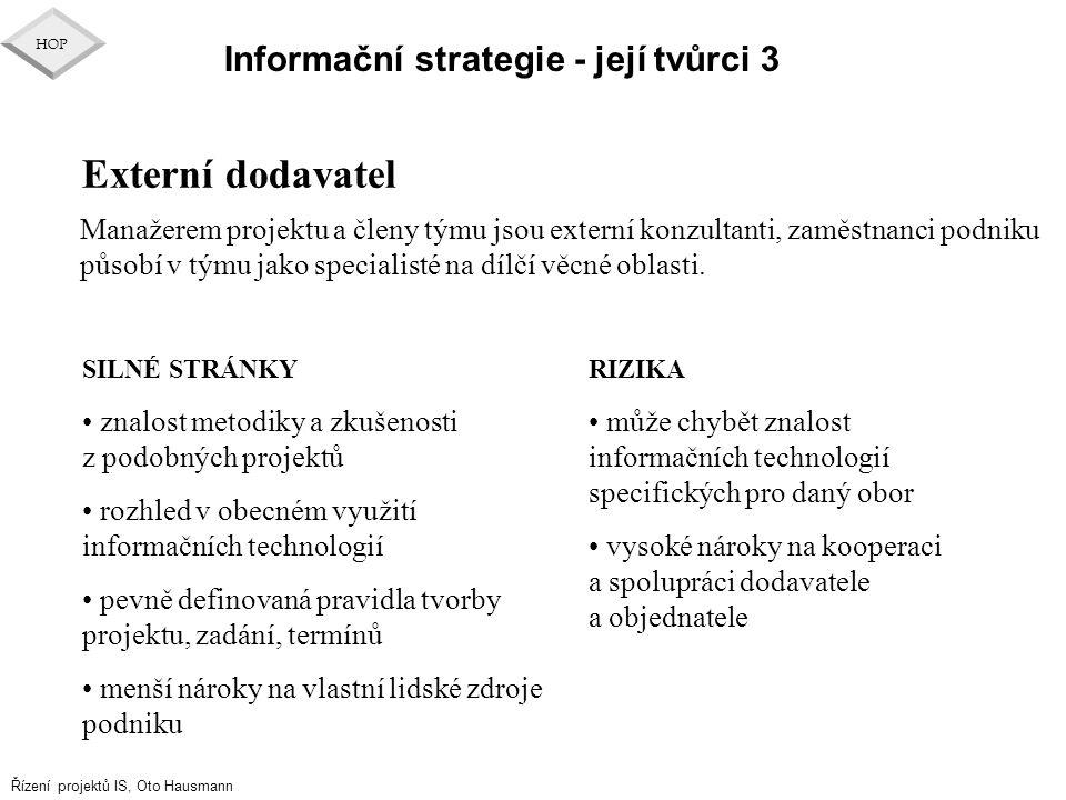 Řízení projektů IS, Oto Hausmann HOP Informační strategie - její tvůrci 3 Externí dodavatel SILNÉ STRÁNKY znalost metodiky a zkušenosti z podobných pr