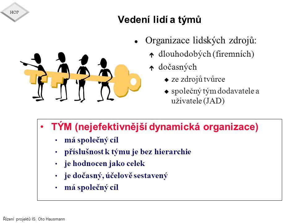 Řízení projektů IS, Oto Hausmann HOP Vedení lidí a týmů l Organizace lidských zdrojů: é dlouhodobých (firemních) é dočasných u ze zdrojů tvůrce u spol