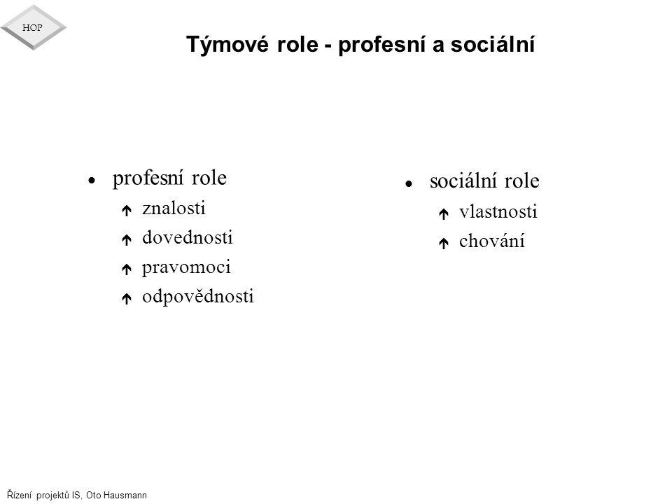 Řízení projektů IS, Oto Hausmann HOP Týmové role - profesní a sociální l profesní role é znalosti é dovednosti é pravomoci é odpovědnosti l sociální r