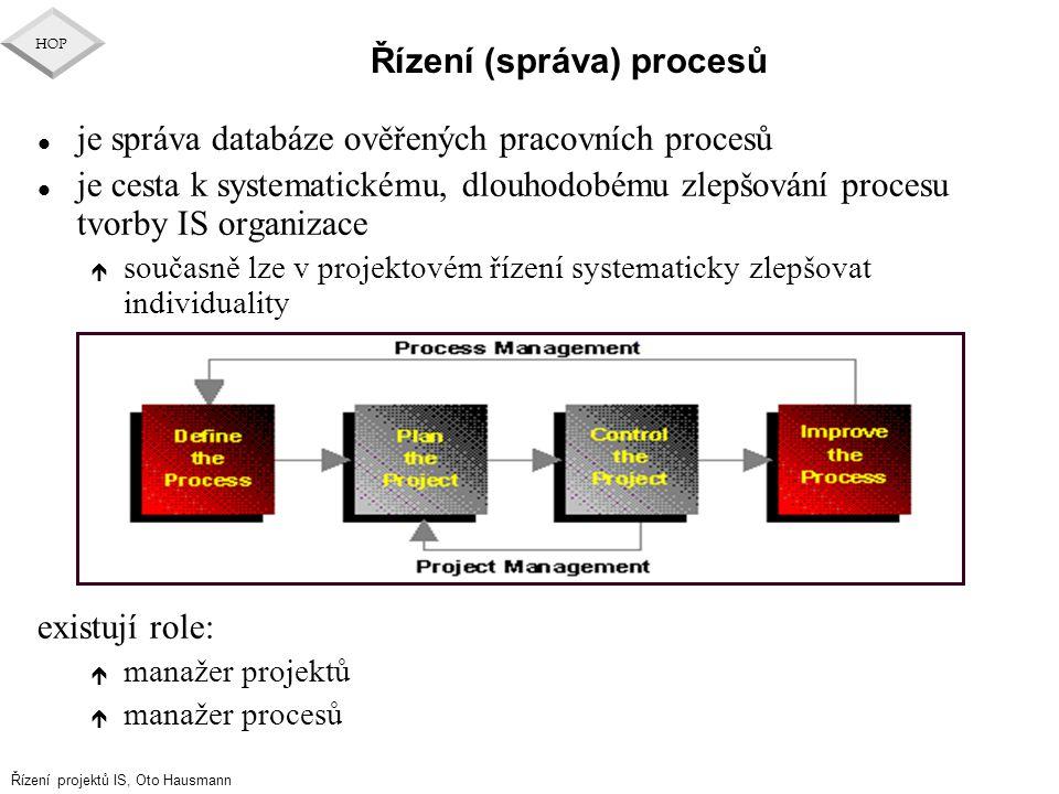 Řízení projektů IS, Oto Hausmann HOP Řízení (správa) procesů l je správa databáze ověřených pracovních procesů l je cesta k systematickému, dlouhodobé