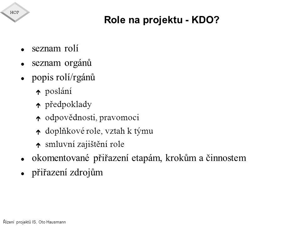 Řízení projektů IS, Oto Hausmann HOP Role na projektu - KDO? l seznam rolí l seznam orgánů l popis rolí/rgánů é poslání é předpoklady é odpovědnosti,