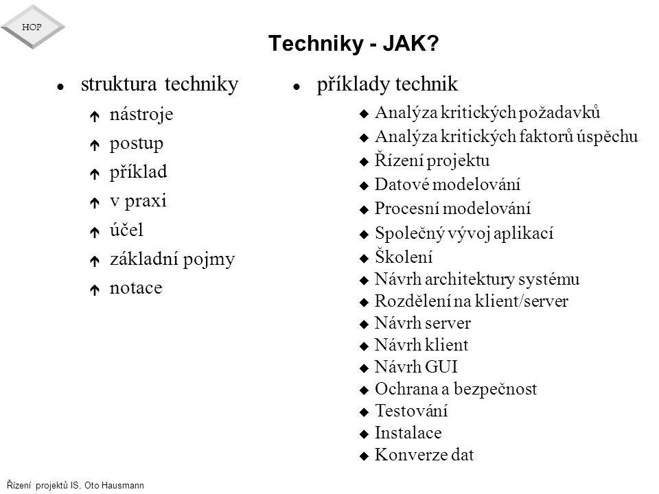 Řízení projektů IS, Oto Hausmann HOP Techniky - JAK? l struktura techniky é nástroje é postup é příklad é v praxi é účel é základní pojmy é notace l p