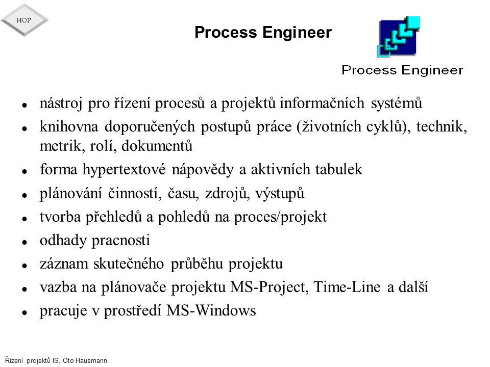 Řízení projektů IS, Oto Hausmann HOP Process Engineer l nástroj pro řízení procesů a projektů informačních systémů l knihovna doporučených postupů prá