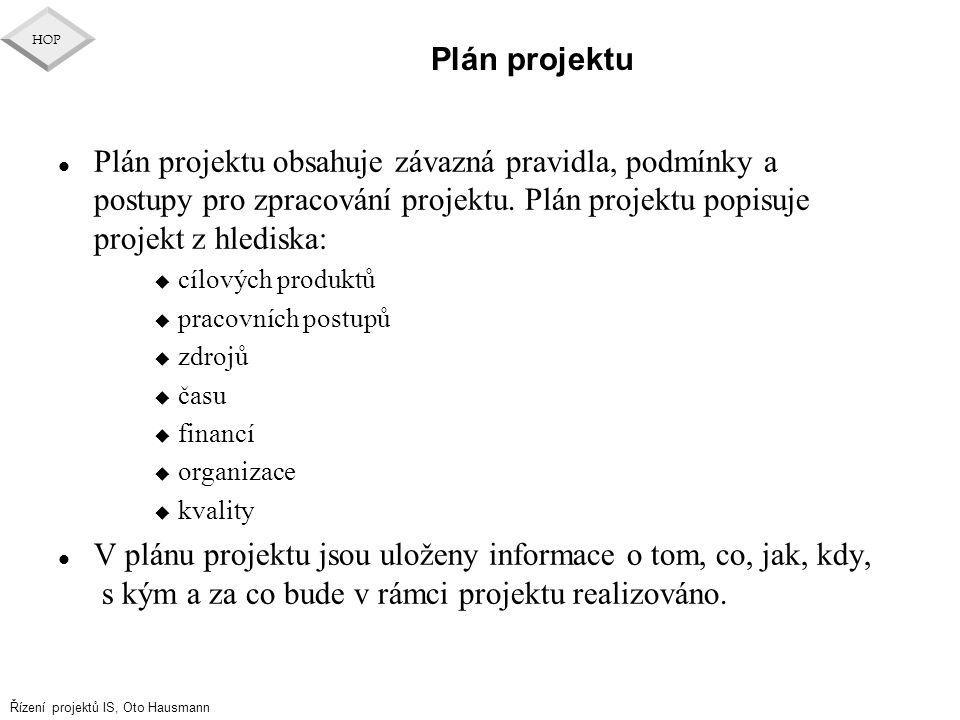 Řízení projektů IS, Oto Hausmann HOP Plán projektu l Plán projektu obsahuje závazná pravidla, podmínky a postupy pro zpracování projektu. Plán projekt