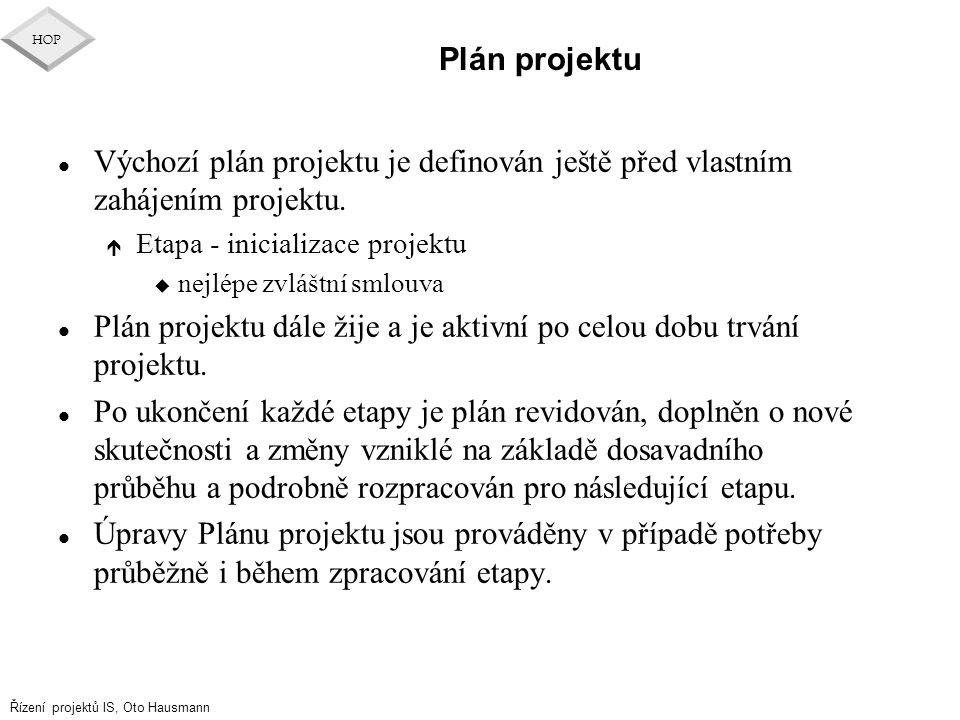 Řízení projektů IS, Oto Hausmann HOP Plán projektu l Výchozí plán projektu je definován ještě před vlastním zahájením projektu. é Etapa - inicializace