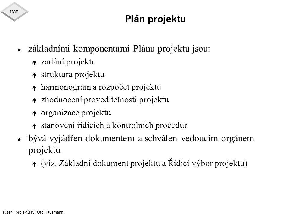 Řízení projektů IS, Oto Hausmann HOP Plán projektu l základními komponentami Plánu projektu jsou: é zadání projektu é struktura projektu é harmonogram